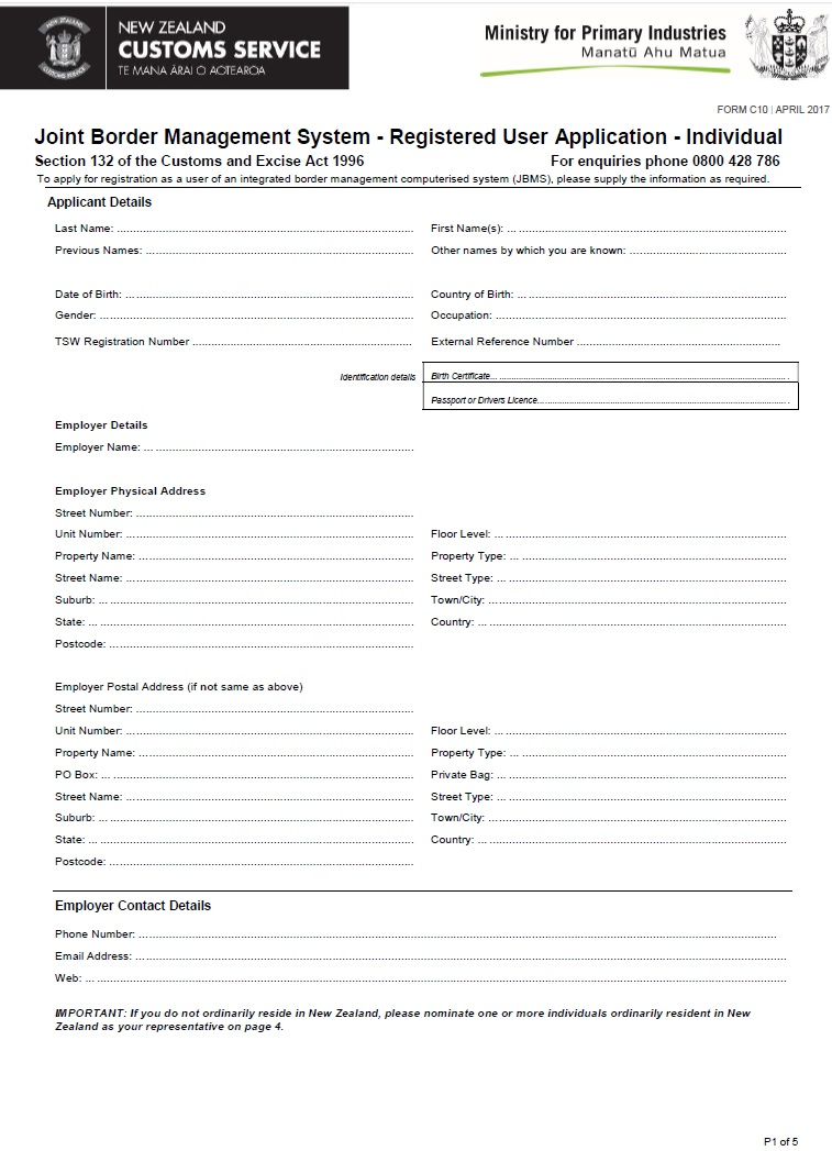 Customs application for jbms user registration rules 2017 2017 form c10 page 1 aiddatafo Choice Image